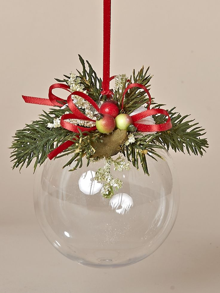 83MM Acrylic Ornament with Winter Berries in Red & Green, Faux Pine and a Red Bow