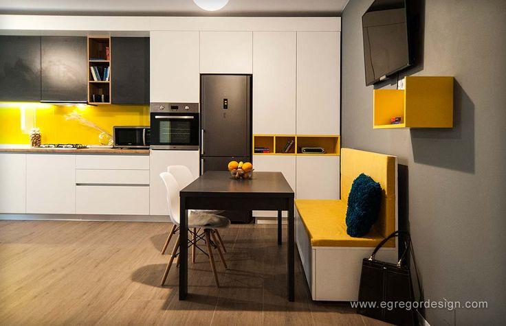 amenajare si mobilare apartament cu doua camere bucatarie pal alb blat stejar maner gola