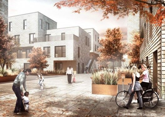 Consisting of  3-400 housing units on sites in and around Copenhagen, their winning proposal offers a huge variation of housing sizes and building typologies. Also, by using the prefab module, this ensures a free and flexible design of each area.