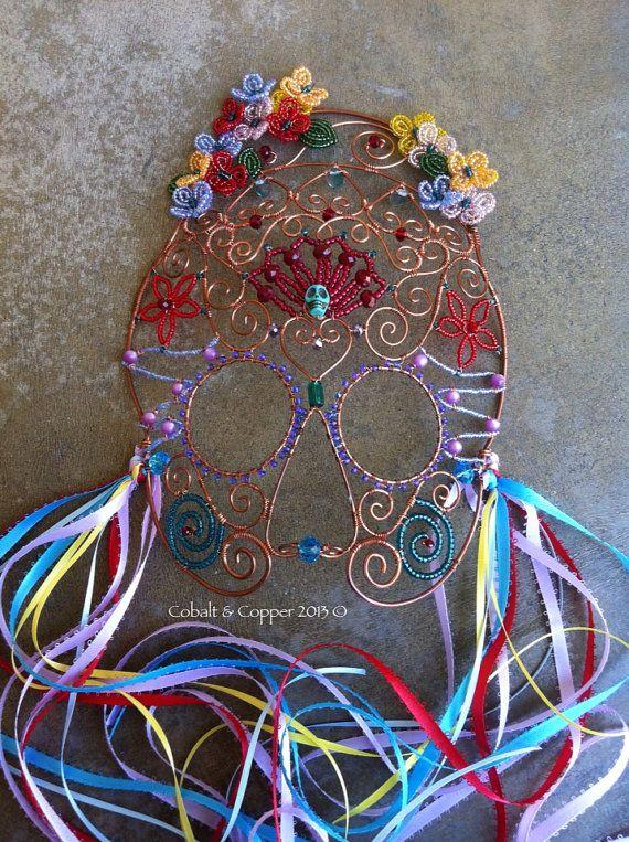 Beaded Copper Sugar Skull Mask by CobaltandCopper on Etsy
