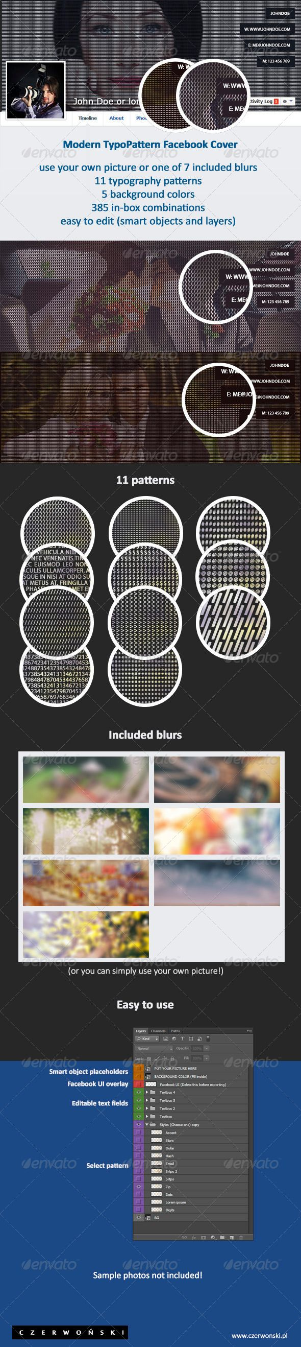 Modern TypoPattern Facebook Cover. Buy it on Graphicriver for just $3