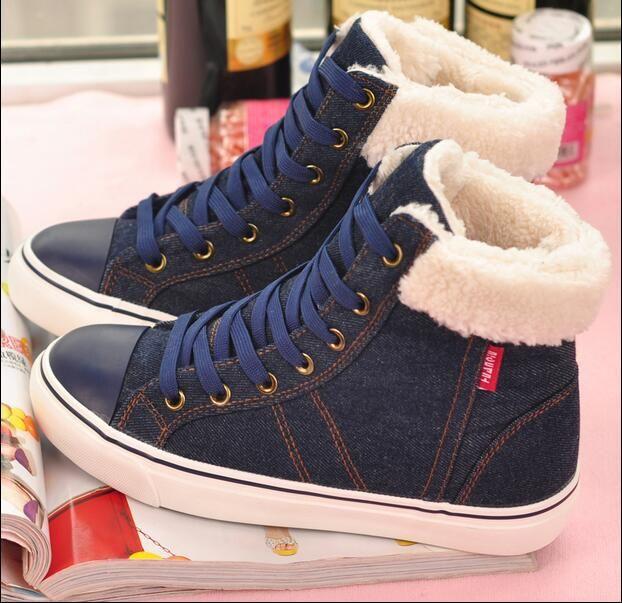 3.28 Precio de Venta 44 de alta moda top zapatos de invierno de las mujeres 2016 nuevos zapatos de lona de mezclilla mujer caliente botas de nieve ocasionales botas invier