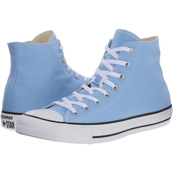 Converse Chuck Taylor All Star Seasonal Hi (Blue Sky) Classic Shoes ($30) ❤ liked on Polyvore featuring shoes, sneakers, blue, converse shoes, hi tops, high top trainers, blue shoes and metallic shoes