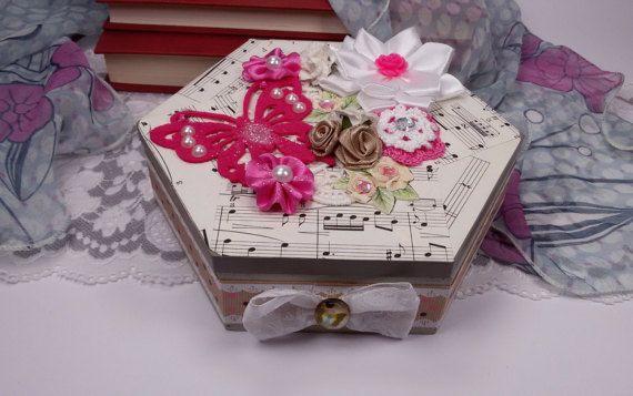 Shabby Chic jewelry box wooden keepsake box by Rocreanique on Etsy