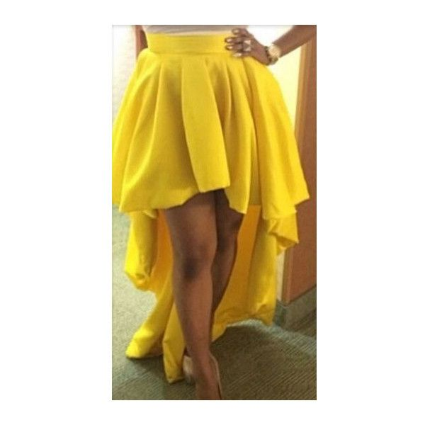 Rotita High Waist Asymmetric Yellow Cocktail Skirt ($21) ❤ liked on Polyvore