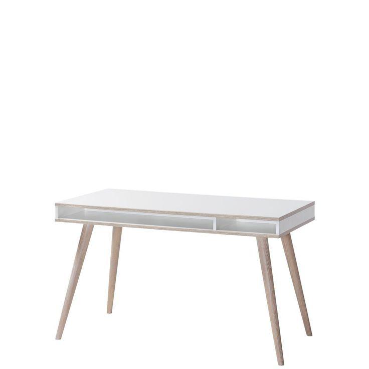 Schreibtisch Billund Weiß - Eiche sägerau - Wimex Möbel günstig online kaufen