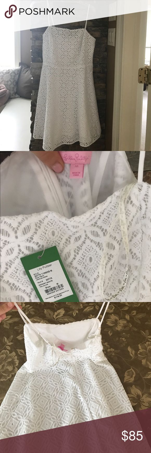 Lilly Pulitzer White Dress NWT (M) New with tags, was purchased but didn't fit owner. Not wore, brand new dress. Intricate detailed lace. Size M. Original Price: $178 Lilly Pulitzer Dresses