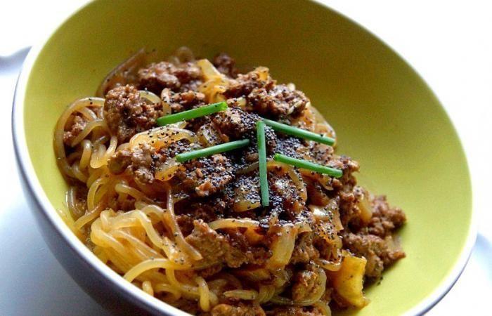 Régime Dukan (recette minceur) : Vermicelles de konjac au boeuf miso #dukan http://www.dukanaute.com/recette-vermicelles-de-konjac-au-boeuf-miso-9469.html