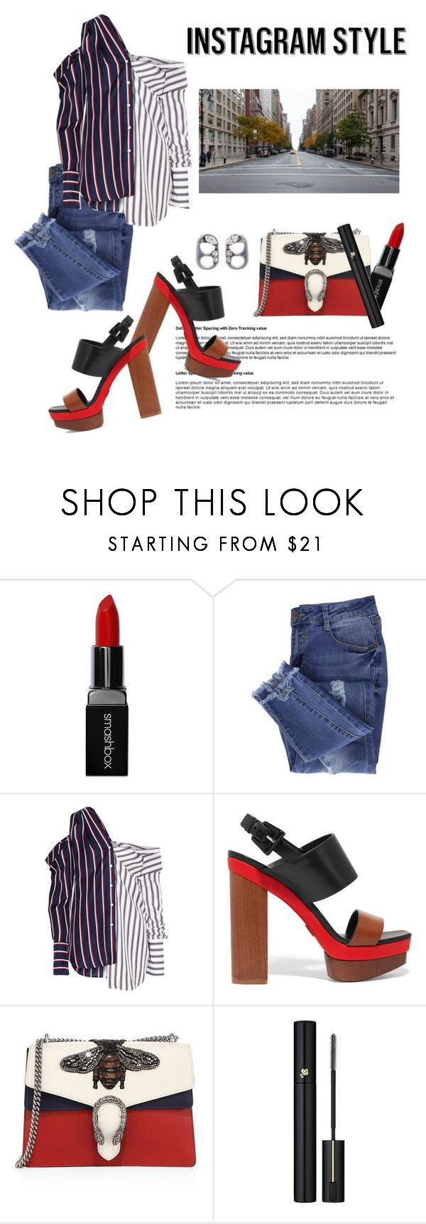 """STREET IG"" by gizaboudib on Polyvore featuring moda, Smashbox, Essie, Monse, Michael Kors, Gucci, Lancôme, Marc Jacobs, 60secondstyle y PVShareYourStyle"