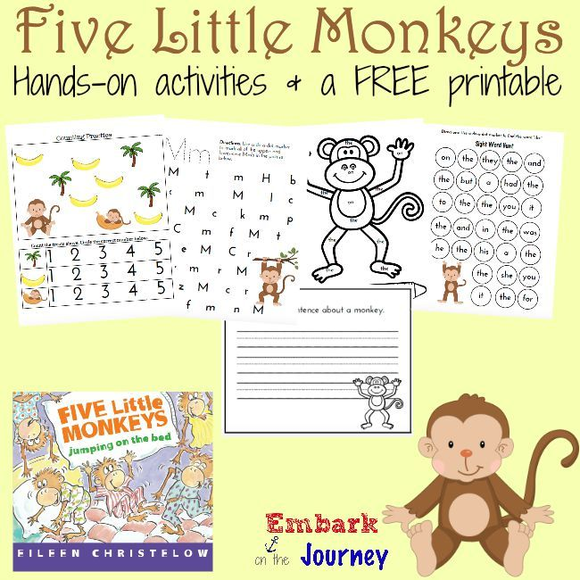 5 Little Monkeys Printable And Hands On Fun