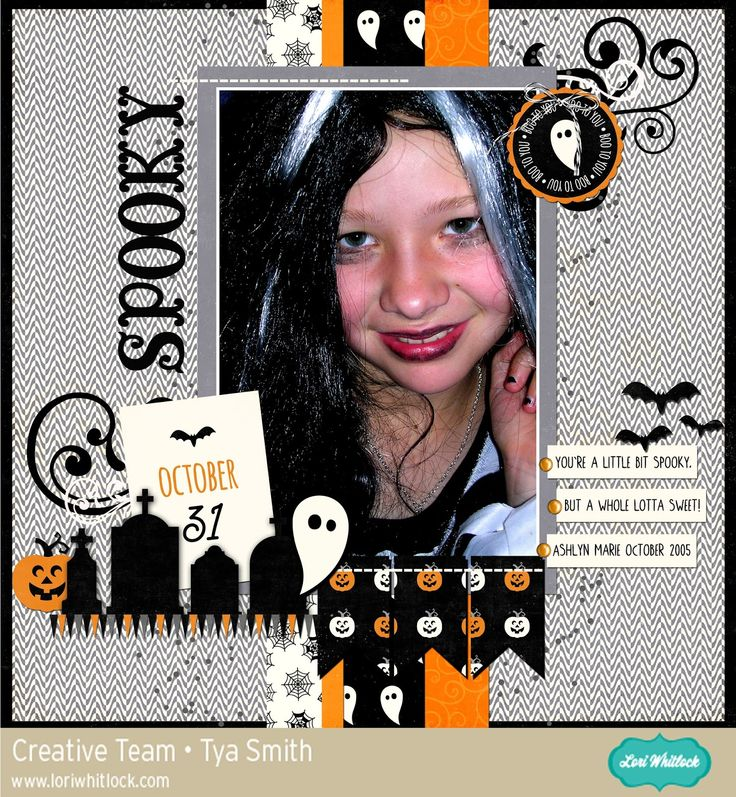 Halloween digital scrapbook page made with Lori Whitlock products available at www.snapclicksupply.com. #digitalscrapbooking #snapclicksupply
