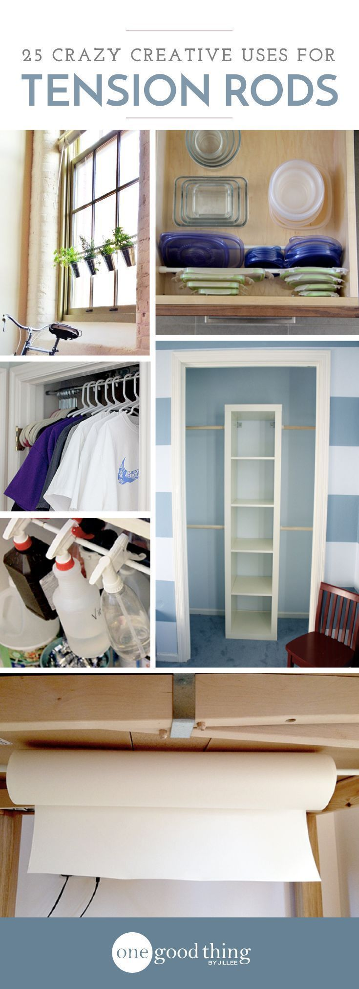 Tension rods might just be one of THE most useful items organizing your home! They're inexpensive, can fit into almost any size space, and are completely removable.