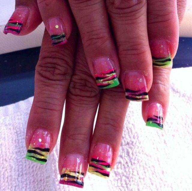 Instagram photo of flared acrylic nails by Renee David-Laudenslayer @ Sassy Hair N' Nails Salon