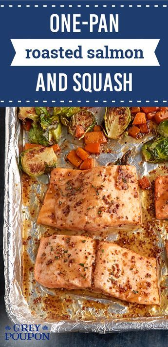 One-Pan Roasted Salmon and Squash – Listen to the call of the ocean with this seafood and vegetable dish! This roasted salmon recipe features butternut squash and Brussels sprouts for a winning dinner combo.