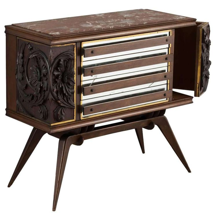 Hollywood Regency Brass Inlayed Sideboard For Sale at 1stdibs