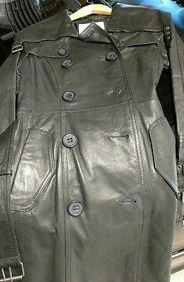 BB Dakota Black Leather Trench Coat Small Rare Find!!!!