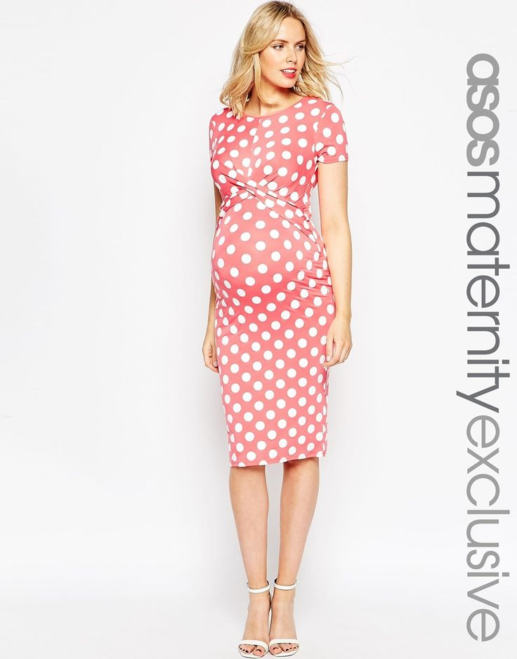 Image 1 of ASOS Maternity Body-Conscious Dress In Polka Dot  With Cross Front