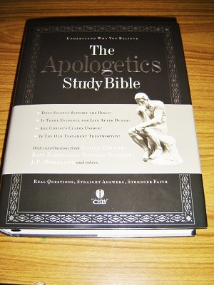 This is the front cover of:  The Apologetics Study Bible / Understanding Why You Believe / Christian Standard Study Bible / Real Questions. Straight Answers. Stronger Faith.