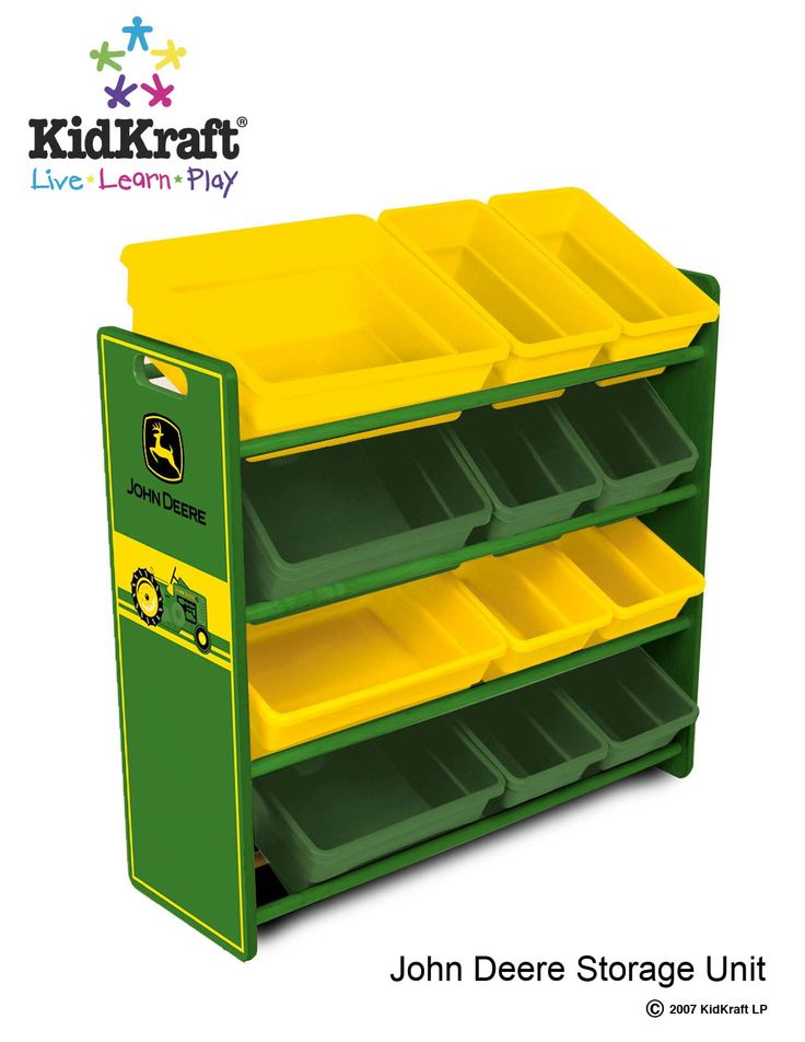 Our John Deere Storage Unit gives kids a perfect place to store toys, games, sports equipment and more. This colorful storage unit from KidKraft can help organize any bedroom, game room or basement. Features include: • John Deere artwork • 12 plastic bins for convenient storage • Made of wood • Sturdy construction. 34'' long X 32'' tall, and 20'' deep.