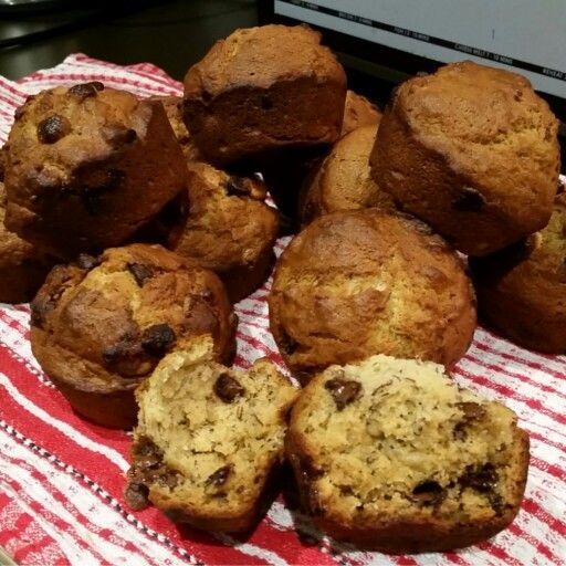 M'Sweets - Banana, Dark & White Choc Chip Muffins. Warm and Gooey