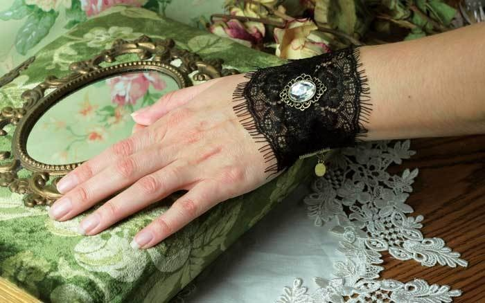 Black gothic lace cuff bracelet with crystal accent & sheer trim from Victorian Trading Co.