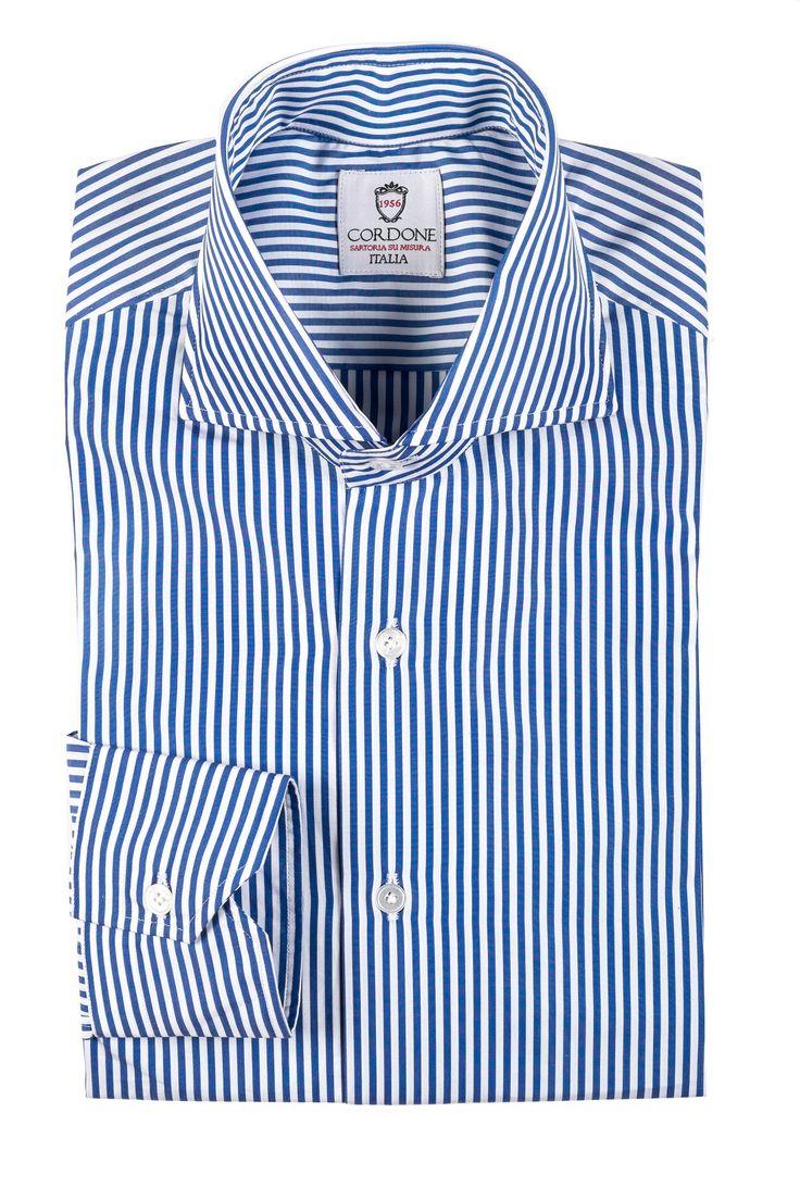Dandy stripes blue cotton shirt , handmade in italy from cordone1956 , very bespoke shirt or camicia su misura con cotone egiziano di thomas mason