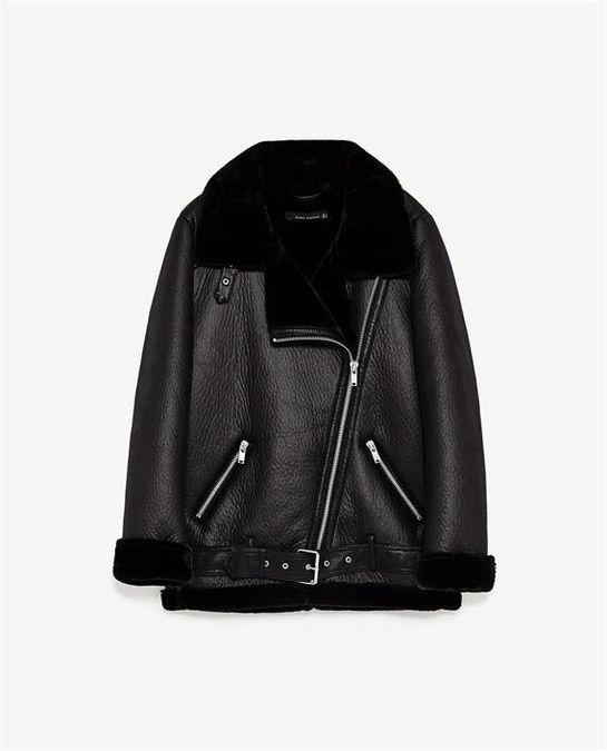 ff315e70 Zara - Faux Fur Leather Biker Jacket in 2019 | FAVES ✨ | Zara biker ...