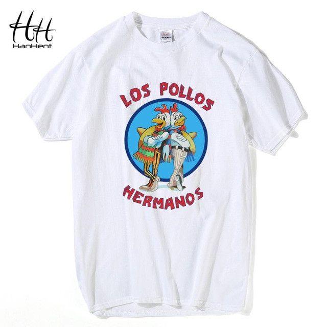 HanHent Los Pollos Hermanos T Shirts Men Breaking Bad T-shirts Sitcoms Summer Cotton Fitness Clothing Swag Heisenberg Tee Shirts