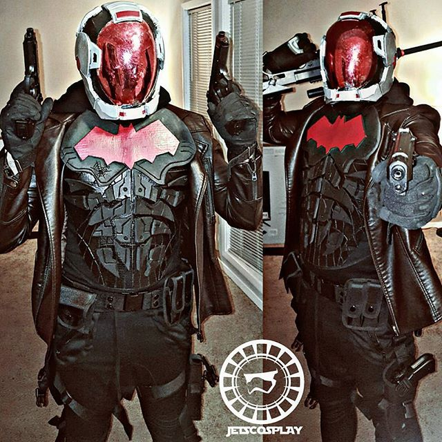 Red Hood Helmet #2 Sneak Preview. Helmet made by @icdeadpixelscosplay DragonCon Here I Come !!!! This outfit is 70% Done-  still working on .. well you see what I'm working on in my stories lol #cosplay #cosplayer #cosplayers #cosplaylife #cosplays #geek #nerd #geeky  #dragoncon  #Atlantacosplayers #redhood #batmanarkhamknight #TeamBatman #becauseimbatman #jasontodd #robin #hero #DCCOMICS #DC #TEENTITANS #injustice2
