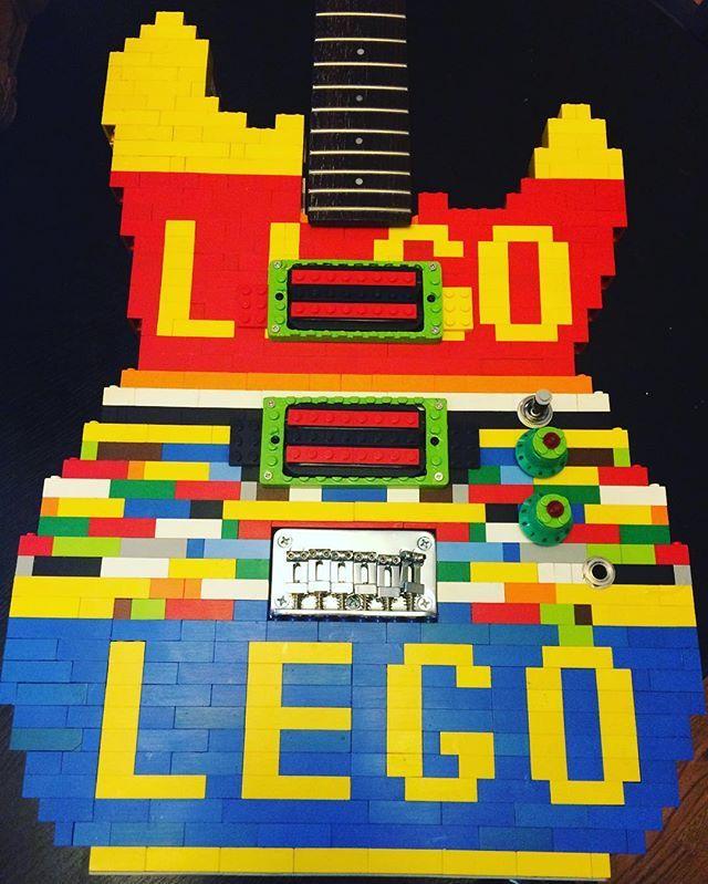 Travis Stevens Nerd Crafts LEGO guitar almost done!!! All wired, just needs little things done here and there... #lego #toys #electricguitar #electricguitars #instruments #guitar #customguitar #customguitars #weirdguitar #weirdguitars #plastic #plasticguitars #superglue #functional #railpickups #repurposed #weird #travisstevensnerdcrafts