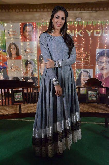 Lavanya Tripathi in Vijay Rana Grey Color Anarkali Suit