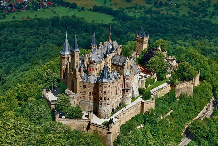 The lovely Hohenzollern Castle  located in Burg Hohenzollern, Germany