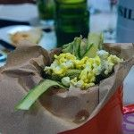 Fried Asparagus with pop corn
