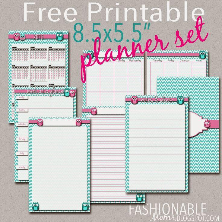 Fashionable Moms: Free Printable Half Page Owl Planner Set