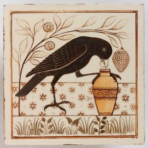 Tile painted with an image inspired by Aesop's Fables, Minton, Hollins & Co., about 1875. Museum no. C.186E-1976 link to yr 7 history greek culture