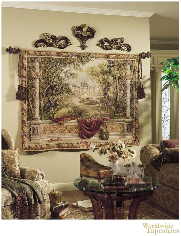 """Verdure au Chateau II tapestry shows a scene of """"Royal Residences"""" where King Louis resided in the late 17th century. This wonderful tapestry is based on the original works of which were made at the Gobelins Manufactory of France for King Louis XIV (1638 - 1715)."""