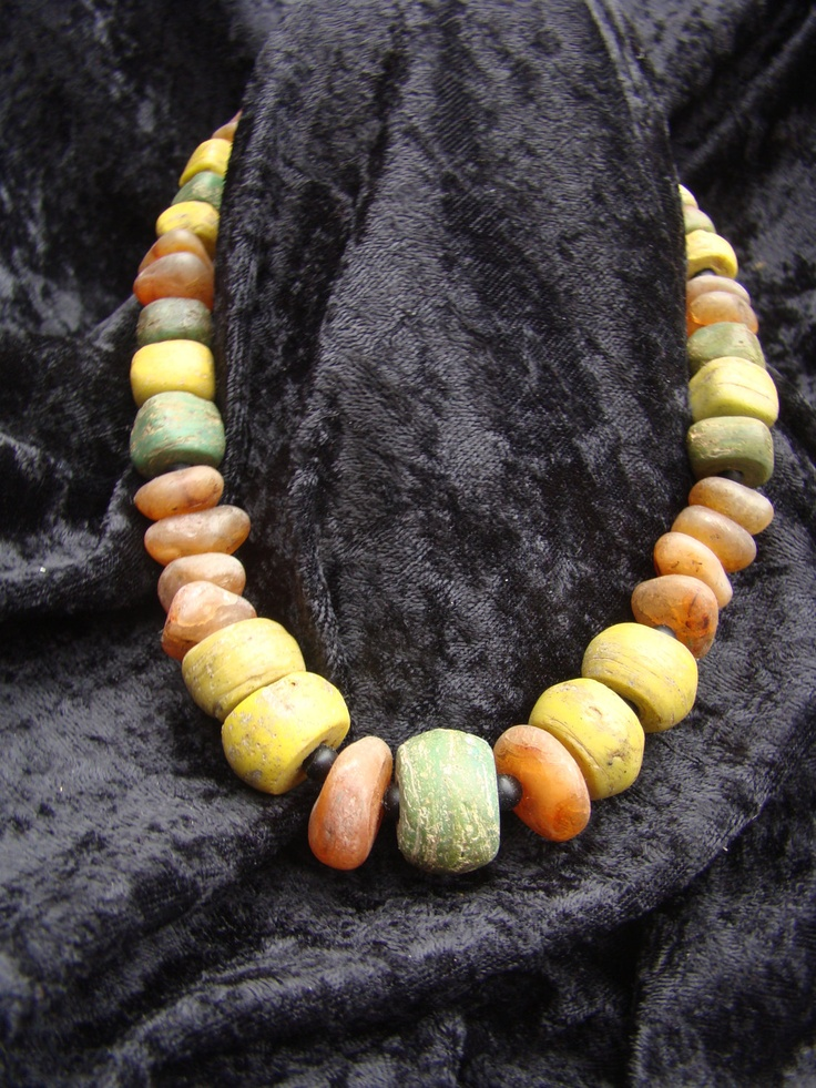 by Nancy Sathre-Vogel | Necklace made from lovely green and yellow Hebron beads ( kind of African trade bead made with salts from the Dead Sea. They were widely made in the mid 1800's and earlier) which have been combined with old agate beads sourced in Timbuktu, Mali. {190$}