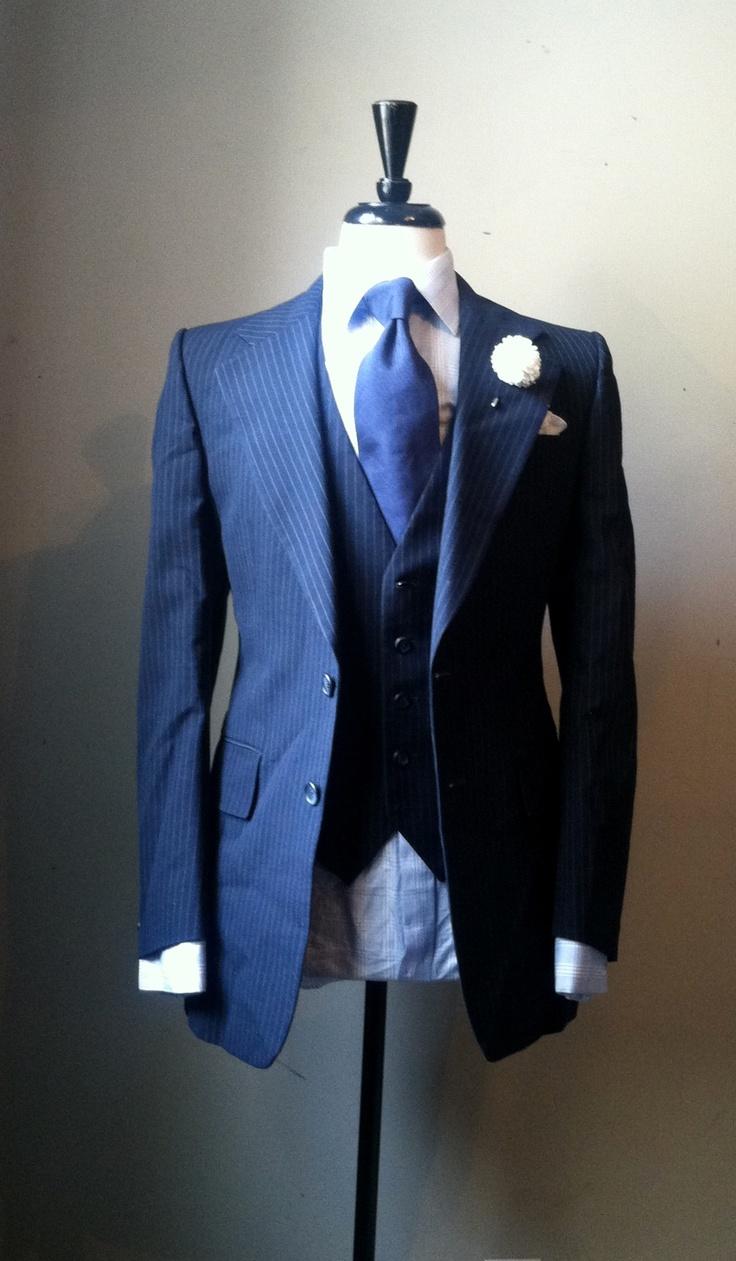 Vintage 3 Piece Navy Pinstripe Suit