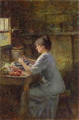 Shelling peas by Frederick McCubbin (25 February 1855 – 20 December 1917) Australian painter who was prominent in the Heidelberg School, one of the more important periods in Australia's visual arts history.)