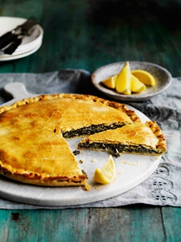 Erbazzone reggiano: cheese & silverbeet (swiss chard) or kale in an olive oil pastry