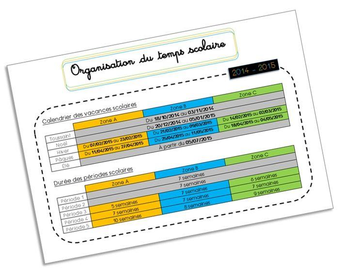 Fiche récapitulative pour organiser/planifier l'année scolaire ! (calendrier scolaire et durée de chaque période) ~ Elau