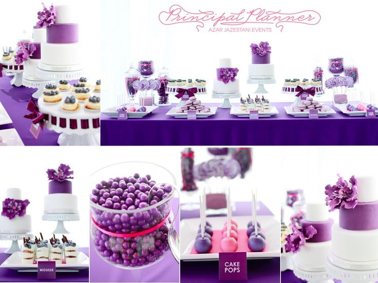 Modern purple dessert table (must have the ribbon cake stand to be able to interchange per color theme)