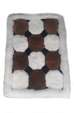 Original peruanischer Alpaka #Fellteppich Wohnzimmer Teppich braun weiß Würfel Design (90 x 60 cm)