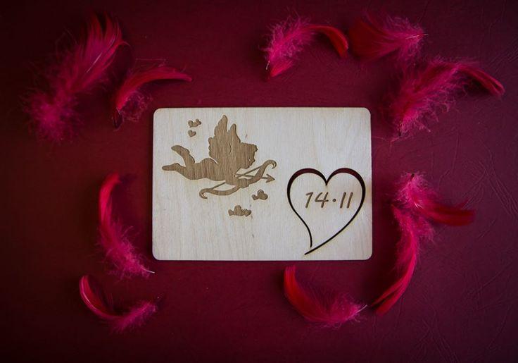Kartka na Walentynki - grawerowana i wycinana w drewnie. Personalizowane życzenia z drugiej strony. 10,50 x 15 cm, grubość 3 mm 8 zł - 1 szt.