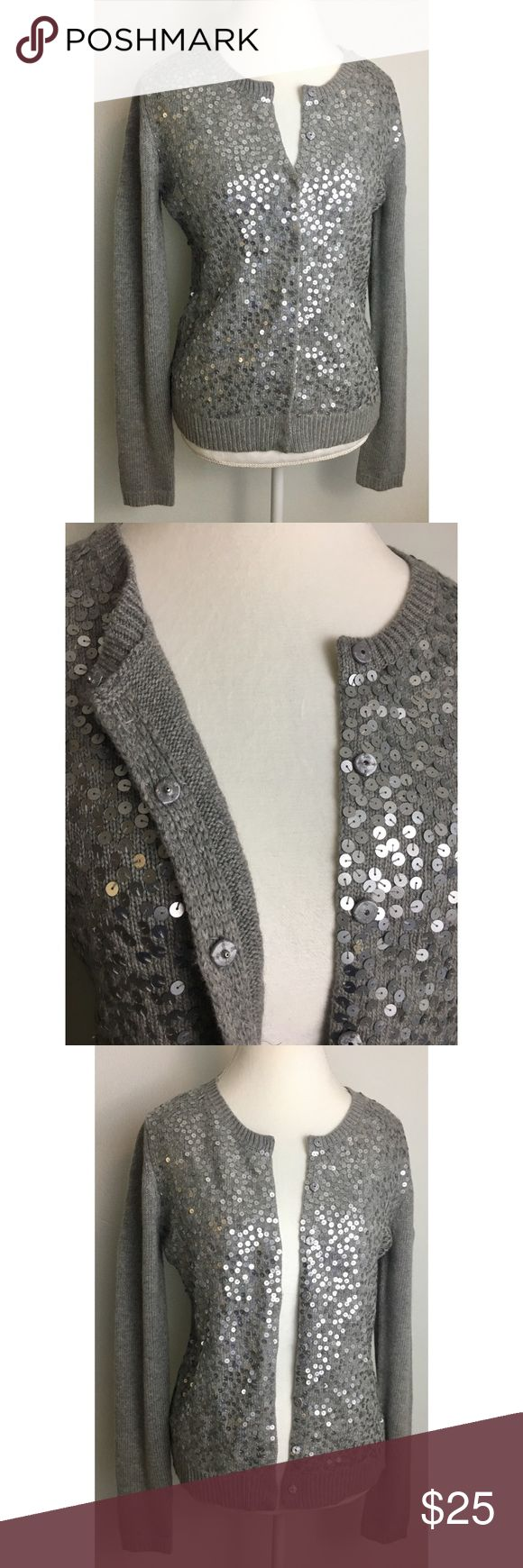"Ann Taylor Gray Sequin Cardigan Sweater Size M Ann Taylor Sequin Cardigan  ALL sequins still intact  Snap Front Button  Pit to Pit 19"" Length 25""   33% Rayon  23% Nylon  19% Wool 18% Cotton  4% Rabbit Hair  3% Cashmere  Fast Shipping! Ann Taylor Sweaters Cardigans"