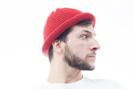 Red Mens Knit hat Cloche Hat Red Unisex Wool Beanie by OneHatStore