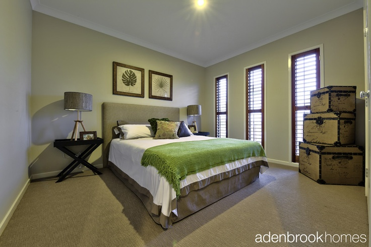 Serene and calming bedroom in shades of green.