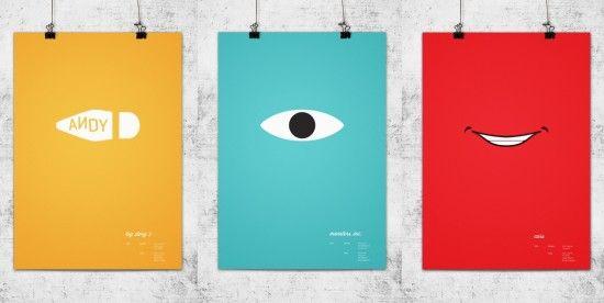 Diseño de carteles inspirados en las peliculas de animacion de pixar.  Por  http://www.behance.net/wonchan