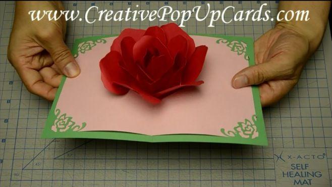 Origami - Sevgililer Günü İçin Romantik Güllü Kart Tasarımı - Japon kağıt katlama sanatı (Origami) - teknikleri, örnekleri ve ipuçlarını videolu anlatımı. Kağıttan hediyelik ve özel günler için Sevgililer günü için romantik güllü kart yapımı (Rose Pop Up Card For Mother's Day Or Valentine's Day Video)