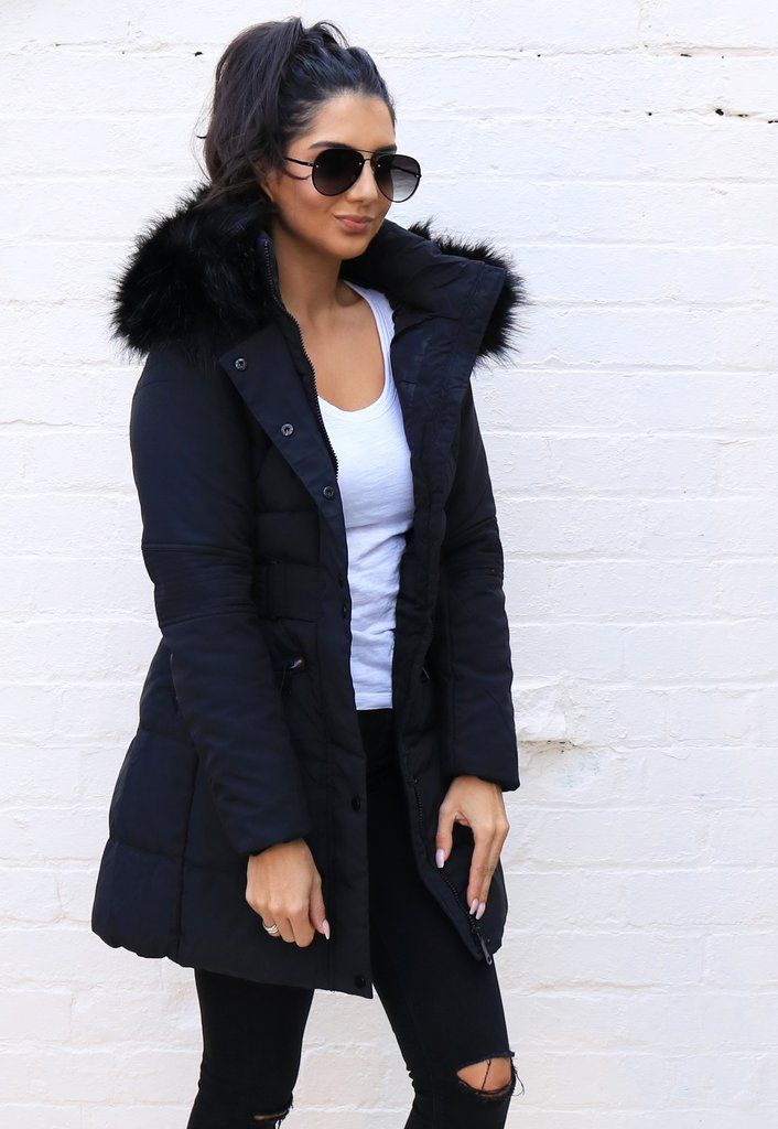 933e4b8a0fca Mila Longline Quilted Hooded Puffer Coat with Oversized Faux Fur Trim    Half Belt in Black - One Nation Clothing